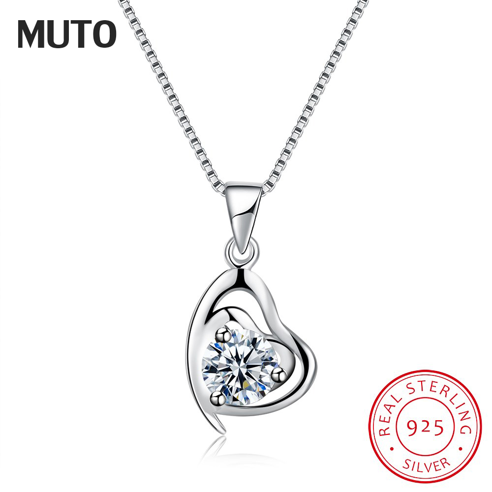 MUTO Lovely Heart 925 Sterling Silver Pendants & Chain Crystal New Hot Women Jewellery Necklaces Gift SVXL7034