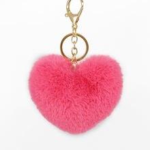 Новинка брелок для ключей ручной работы с помпоном в форме сердца