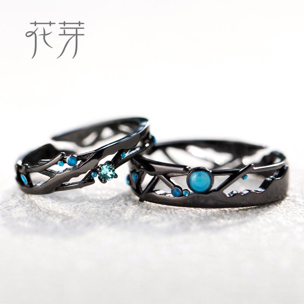 Thaya S925 Argent Cosmique Voie Lactée Conception Noir Anneaux Bleu Lumineux Zircon Perles Anneaux pour les Femmes Amant Vintage Bijoux Cadeau