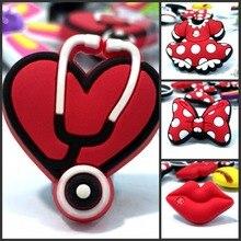 10pcs High Quality Red Lips Bowknots Shoe Models PVC shoe charms accessories/decoration fit wristbands croc JIBZ