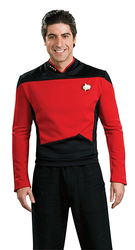 Star TNG The Next Generation Trek Red Yellow Blue Shirt Uniform Cosplay Costume For Men Coat Halloween Party(China)