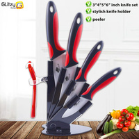 3 4 5 6 Peeler Knife Holder Ceramic Knife Set White Blade Top Quality Kitchen Knives