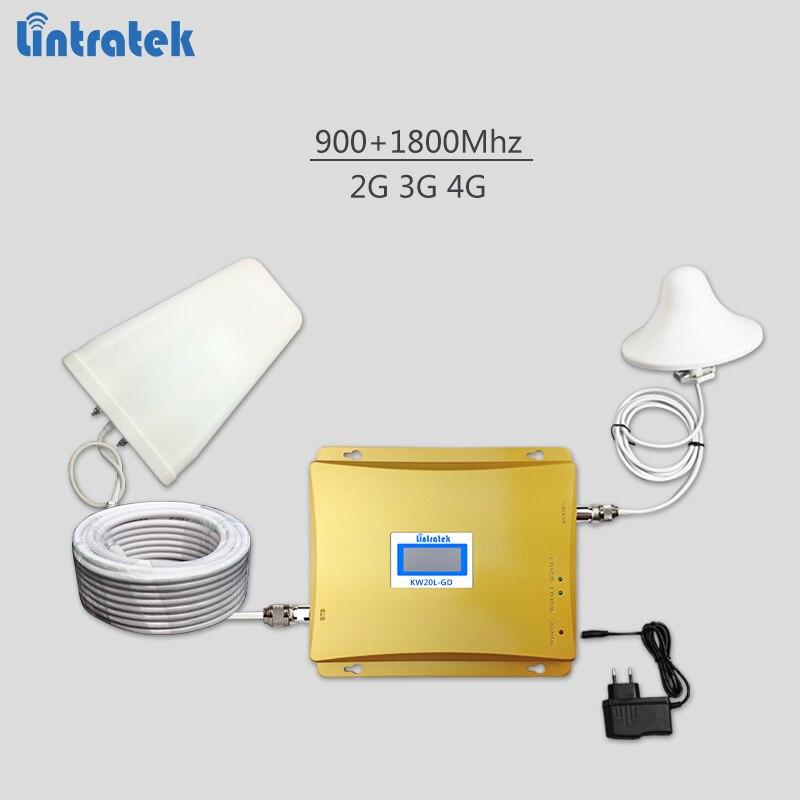 Lintratek sinal celular impulsionador GSM 900 mhz DCS 1800 mhz 4 3 2g g g repetidor de sinal de Banda 3 amplificador com display LCD kit completo #63