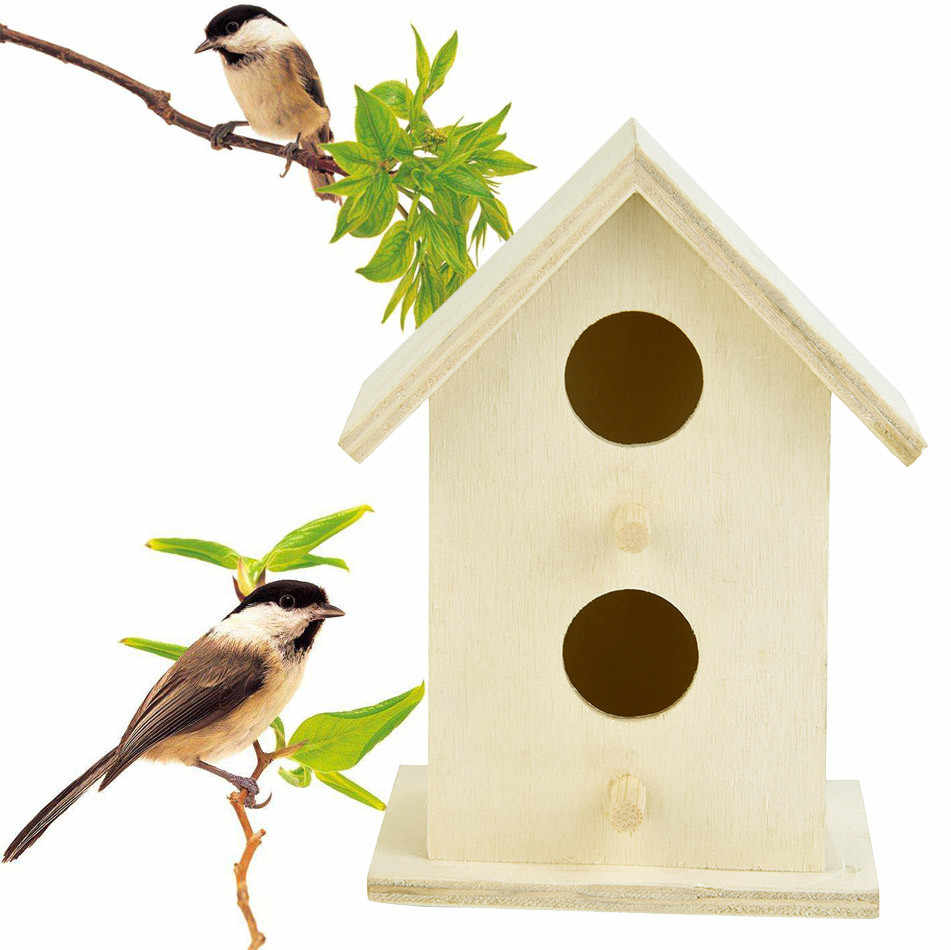Wooden Bird House FOR Children Bird Cages Nests Dox Nest House Bird House Bird Box Two layers Round hole Decorative  10