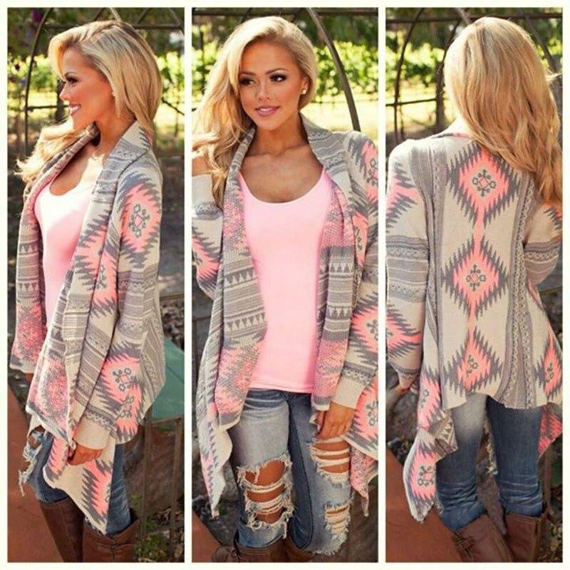 casaco feminino 2017 Cardigan print irregular knit coat autumn fashion sexy lady Slim women coat