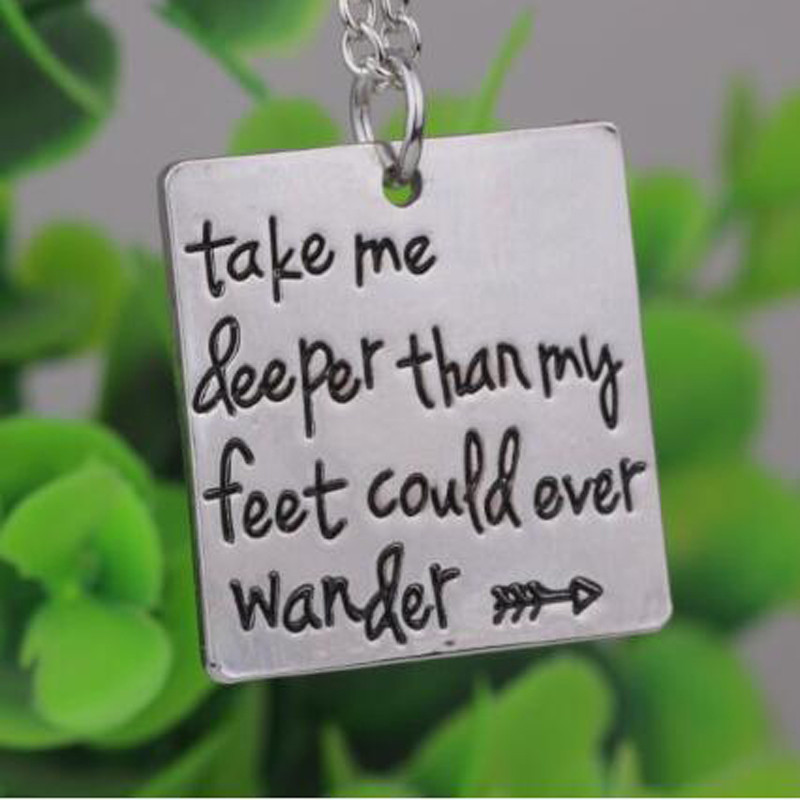 Inspirational Jewelry  Take me deeper than my feet could ever wander  Oceans Song Lyrics Christian Jewelry Baptism Gift