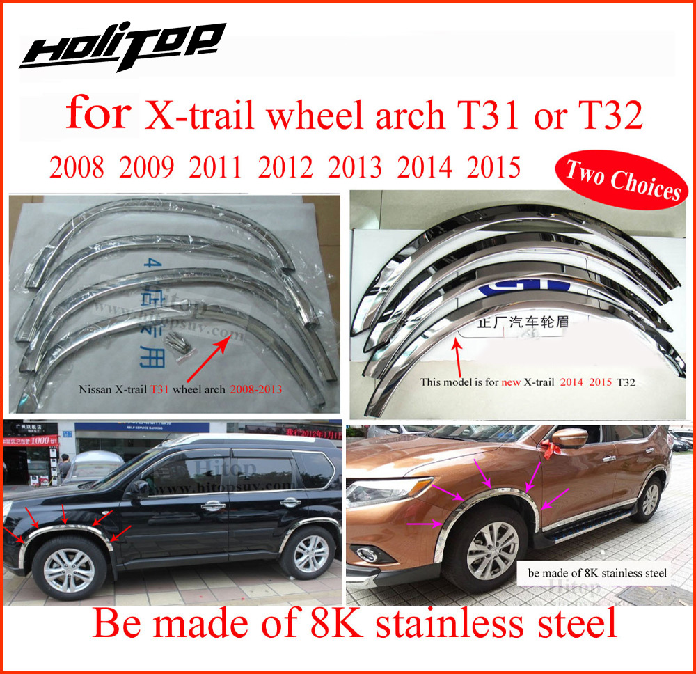 stainless steel wheel arch,wheel fender Flares,wheel cover frame,wheel decoration for Nissan X-Trail Rogue T31 T32 2008-2015 wheel