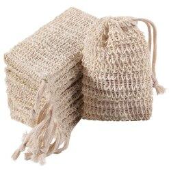 20 sztuk mydło złuszczający torby naturalne Ramie mydło torba siatka ze sznurkiem wanna i prysznic|Składane torby do przechowywania|   -