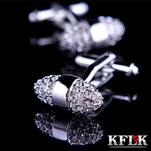 KFLK Shirt Cufflinks Fashion High-Quality Luxury Jewelry Crystal Silver Mens Brand Abotoadura