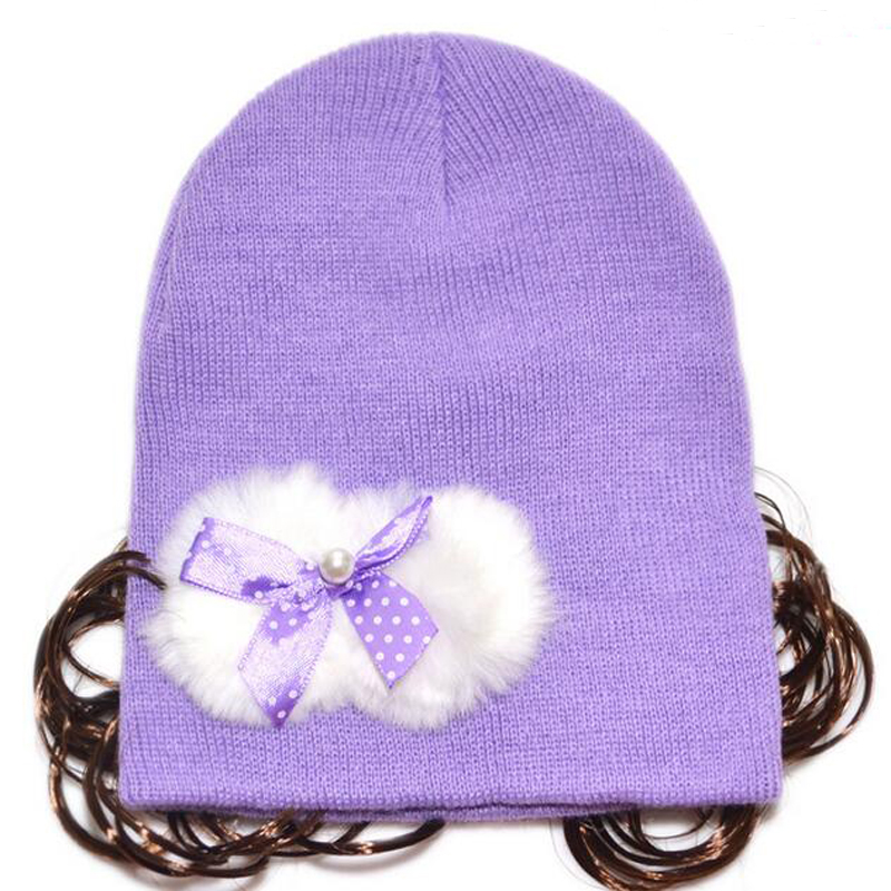 2016 New Winter Baby Cute Bowknot Hats For Girls Solid With Wig Cap For Chapka Child Warm Hat For Children HT52034+30 new arrival lovely newborn hospital hat cute girls baby hats with flower bowknot flower hat high quality