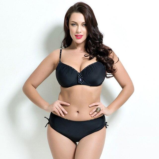 2018 Women Swimwear Sexy Plus Size Swimsuit Fat Wear Plus Size Bikini Set Bathing Suit Push Up Biquini Women Large Cup Bikini 3