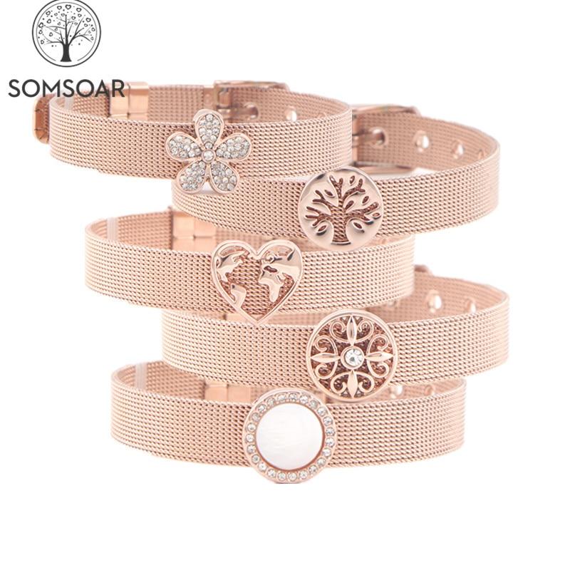 O transporte da gota somsoar jóias rosa ouro malha aço inoxidável pulseira pulseiras com slide encantos para o dia das mães presente