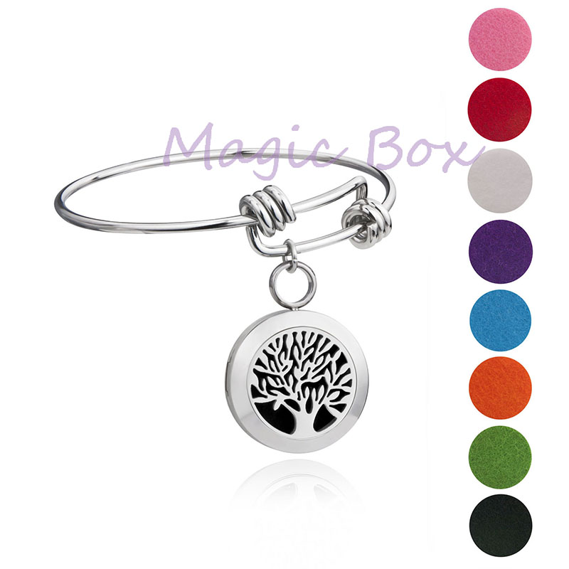 20mm Aromatherapy Essential Oils Diffuser Locket Bracelet Stainless steel wire charm bracelet bangle