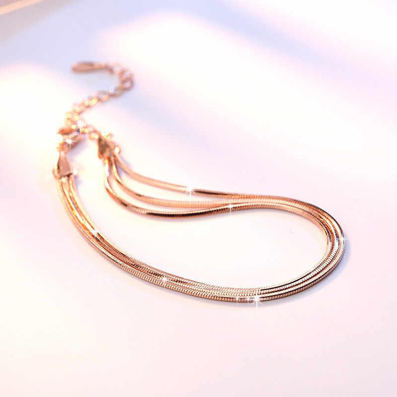 Hot البيع ارتفع الذهب/الفضة اللون سبيكة متعدد الطبقات أساور ثعبان سلسلة أساور Charm للنساء شخصية مجوهرات