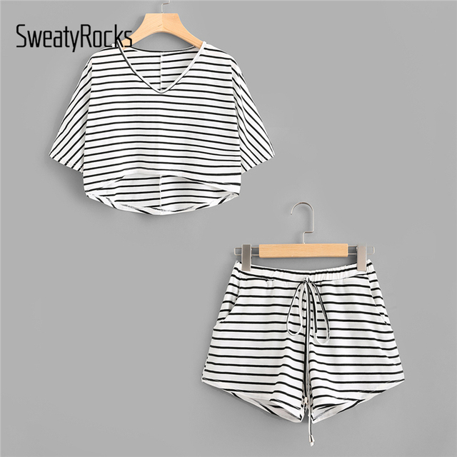 SweatyRocks 2018 Summer Twopiece for Women Dip Hem Tee With Drawstring Shorts Striped Drawstring Stretchy Casual Set