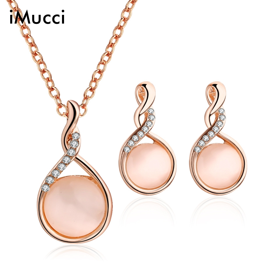 iMucci Water Drop Creative Spiral Crystal Jewelry Sets For Elegant Women Exquisite Earrings Necklace Jewellery For Lover Gifts