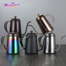 304 Stainless Steel Long Mouth Hand Punching Pot Fine Mouth Kettle 650ml Drip Coffee Pot Filter Brewing Teapot Court Drinkware stainless steel vietnamese coffee pot drip coffee machine filter type brewing teapot no need paper filter coffee cup