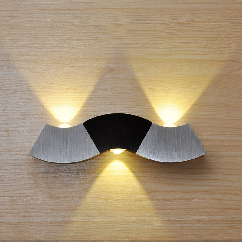 LED Wall Lamp Aluminum Wall Lamp Modern Creative Wave Lamp Color Home Place TV Background Bedside Bedroom Toilet Corridor Lamp image