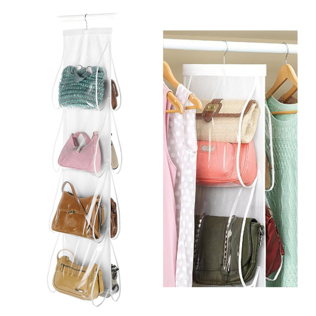 d2b92810f4 8 grid bag storage dust bag hanging wardrobe storage Clear Door Hanging Bag  Practical backpack handbag Storage Tidy Organizer