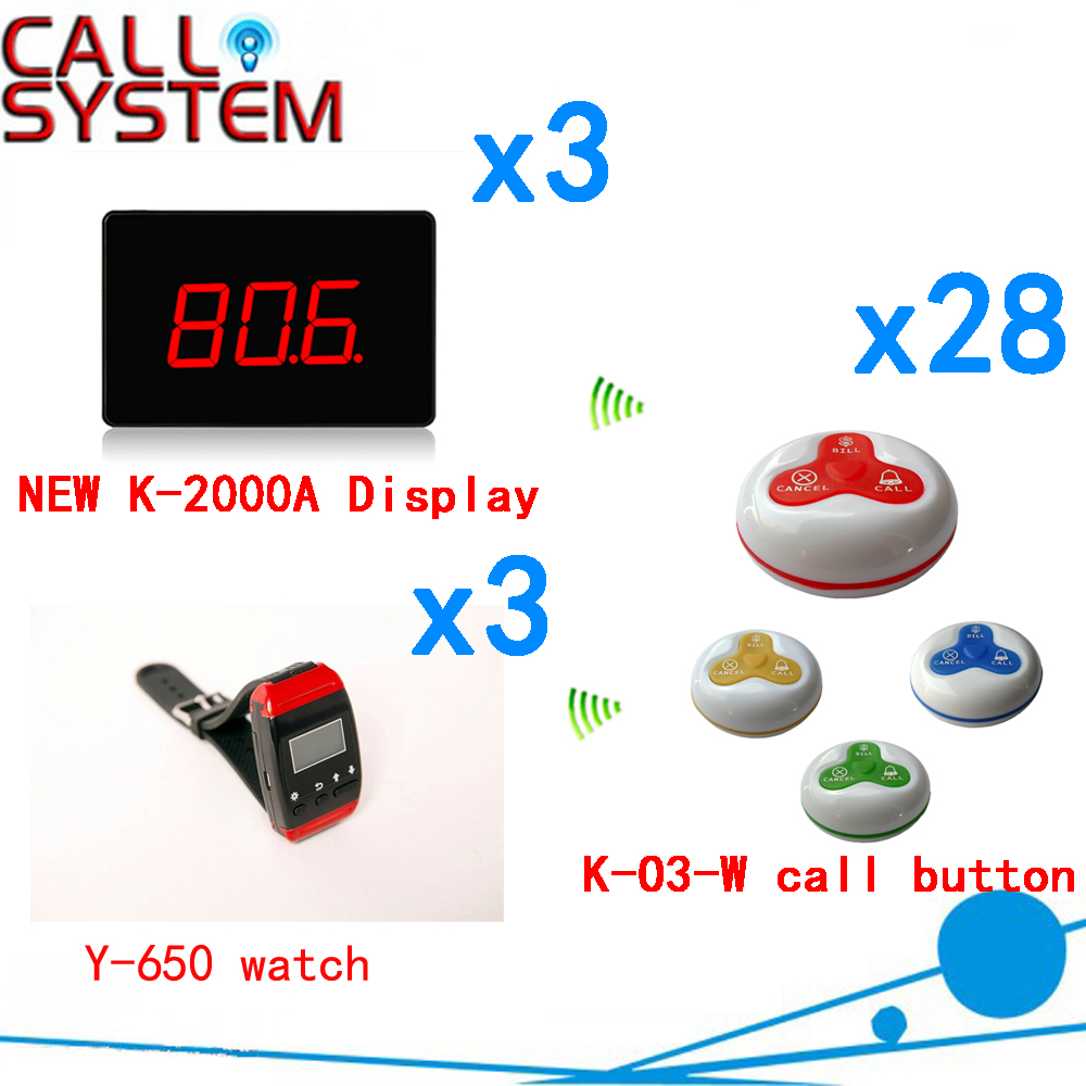 Wireless Order Taking System Restaurant Guest Service Call Bell Button Pager CE Passed( 3 display+3 watch+28 call button ) 1 watch receiver 8 call button 433mhz wireless calling paging system guest service pager restaurant equipments f3258