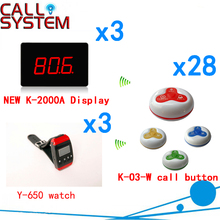 Wireless Order Taking System Restaurant Guest Service Call Bell Button Pager CE Passed( 3 display+3 watch+28 call button )