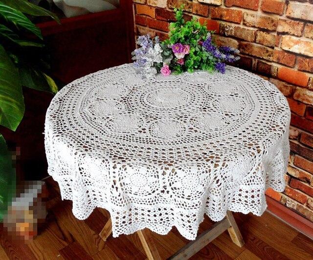 Hermosa ganchillo hecho a mano algodón Manteles flor Mesa Redonda ...
