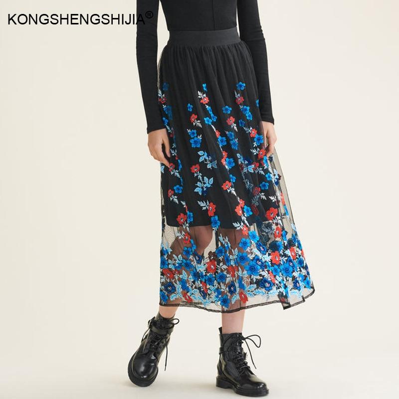 Bordado Longitud 2017 Faldas Mujeres Floral Últimas Cintura Malla Invierno 7128 Falda Imperio Casual Del Moda Elástica Las Otoño Tobillo 700q81