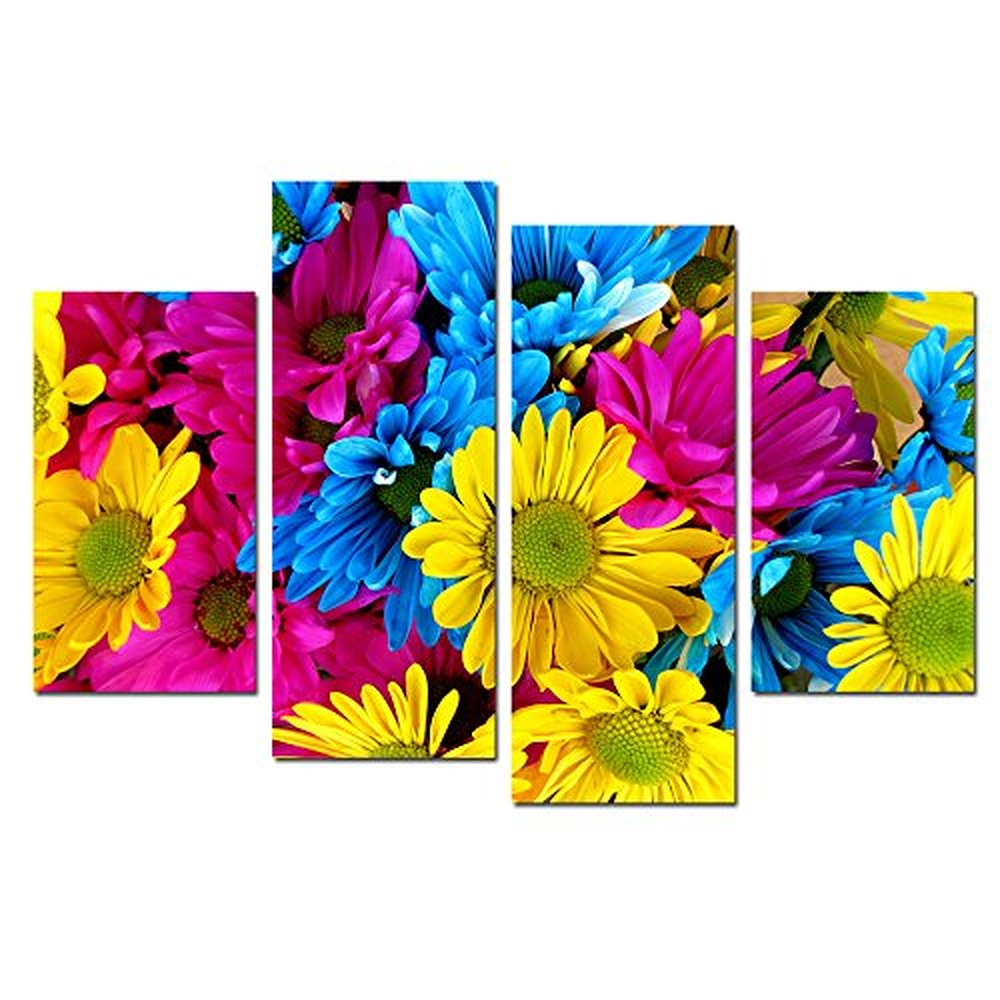 Daisy Flower Canvas Wall Art Colorful,4 Panel Wall Art for
