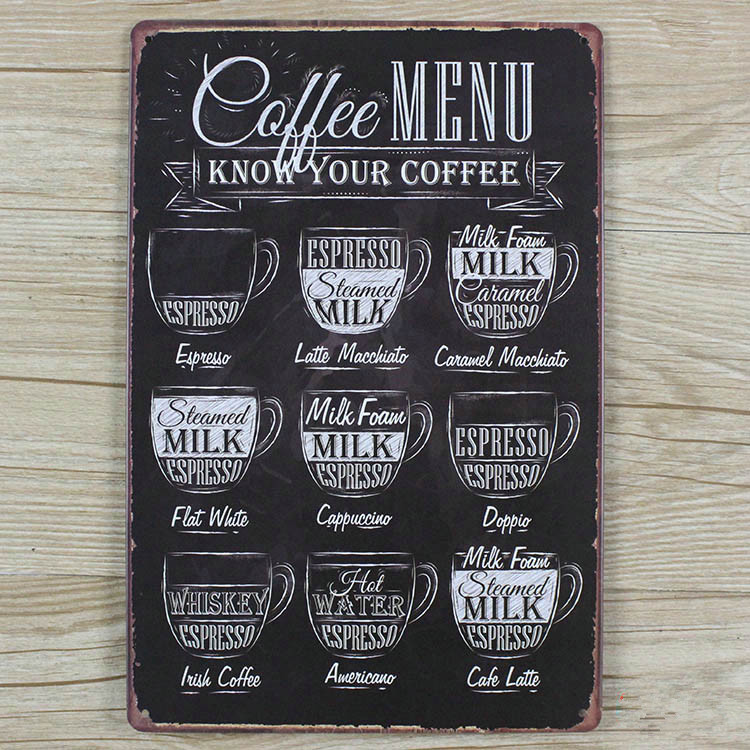 2015 Metal signs Vintage plaques Tin art wall sticker coffee Retro decor home bar wall 20X30 CM Free shipping GY-00307 hot sale