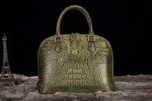 100% Real/Genuine Crocodile Skin Womens Shell shoulderTote Handbag, luxury alligator skin lady shoudler bag Green Black