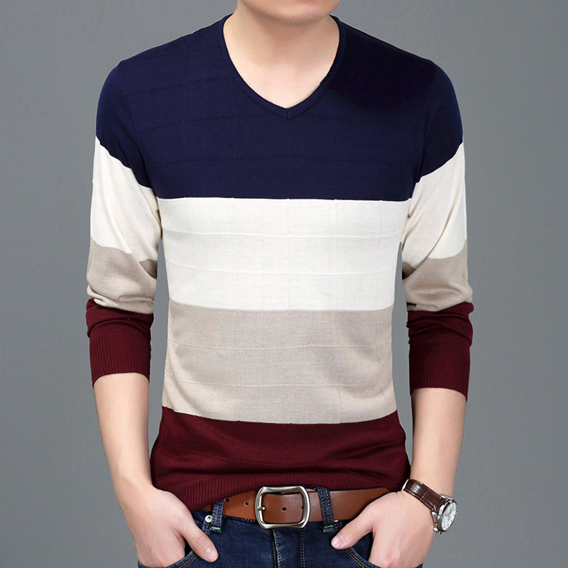 YXL6619 Factory Direct Sales Stripe Color Matching Pullover Sweater Autumn&Winter 2018 High-quality Soft Comfortable Sweater Men
