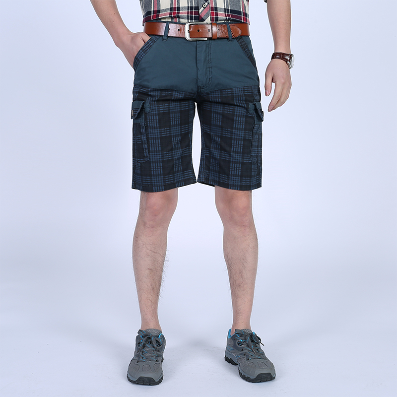 Binghedidai Plus Size Mens Brand Quality Short New Summer Male Loose Plaid Cargo Trouser Fashion Pockets Joggers Pants
