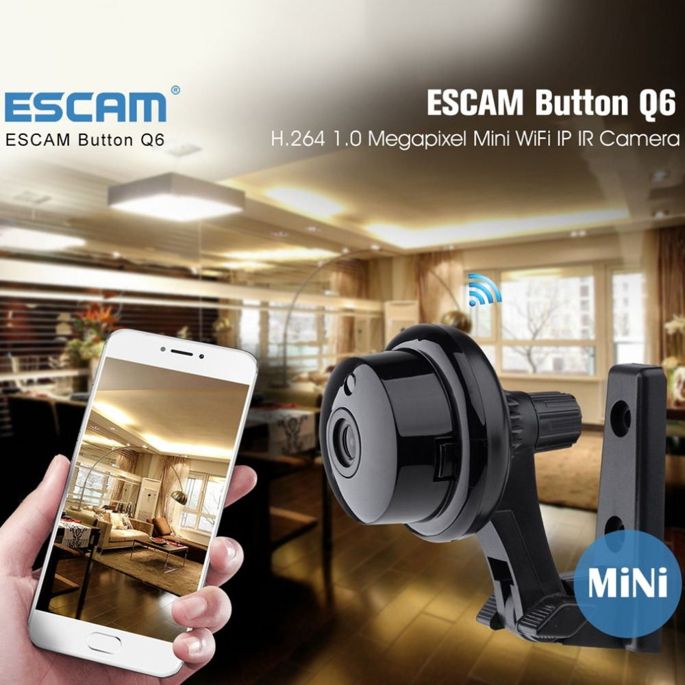 ESCAM Button Q6 Wifi Mini Household IP Camera 1.0MP HD 720P Onvif 2.4 P2P indoor Surveillance Night Vision Security CCTV Camera escam elf qf200 wifi mini ip camera 1 3mp hd 960p onvif p2p indoor surveillance night vision security cctv camera 32gb tf card