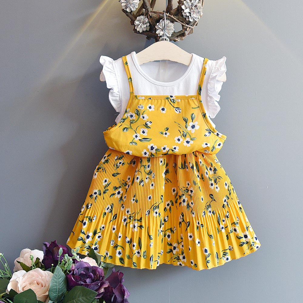 2789bc4045 US $8.67 27% OFF|Summer dresses Toddler Kids Baby Girls Outfit Clothes  Floral Print Pageant Party Princess Dress Sleeveless Beach Party dresses-in  ...