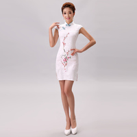 Women Retro White Chinese Flower Cheongsam Female Sexy Silm Embroider Cheongsam Chinese Tradition Dress Party Dress