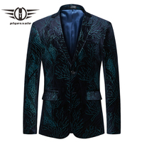 Plyesxale Green Blazer Men 2018 Slim Fit Mens Floral Blazer 5XL 6XL Casual Suit Jacket Brand Clothing Male Prom Blazers Q398