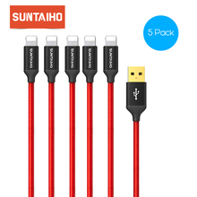 5pcs/lots Suntaiho USB Charger for Apple Phone 25cm/90cm/1.8m/2.6m for iPhone X 8 7 6 6s Plus 8pin Data Mobile Phone Cables