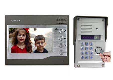 ZHUDELE Top Quality Home Security Intercom System 7Video Door Phone,700TVL HD FRID Panel Camera w/t Password&ID Card Unlocking