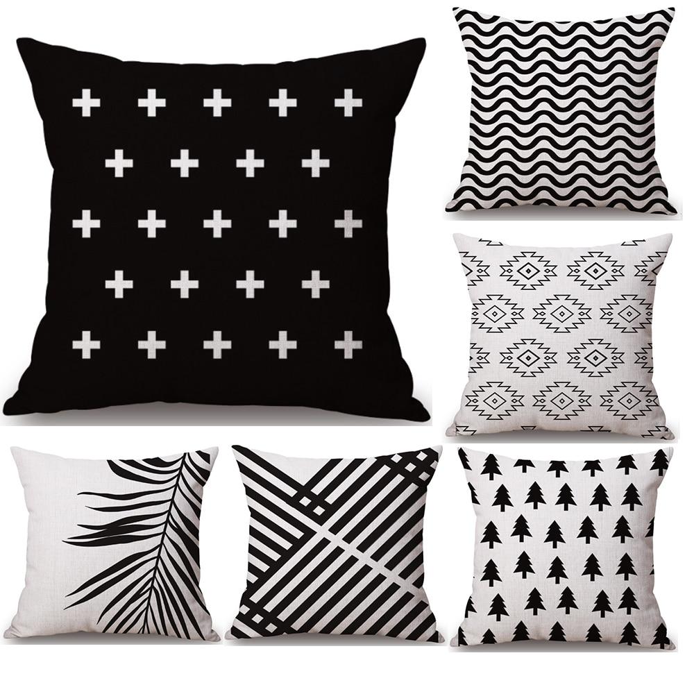 Black White Geometry Neck Body Pillowcase Linen Bed