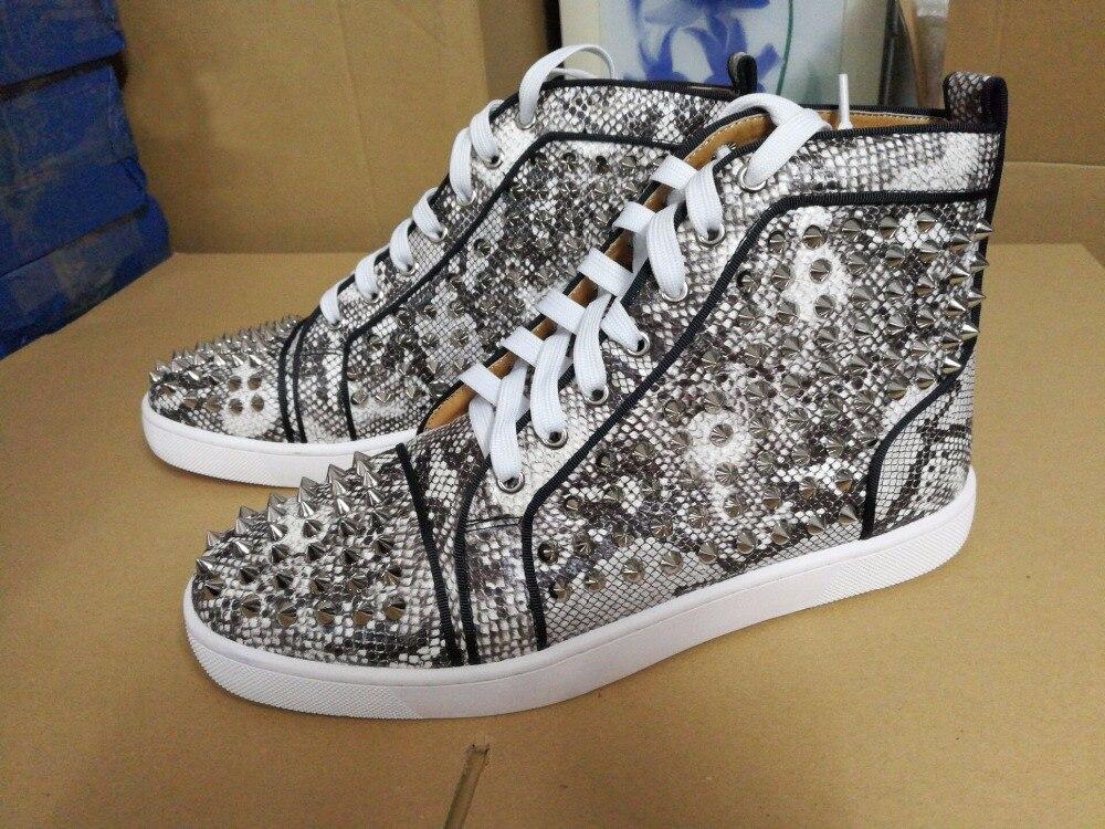 New Style Men Spike Shoes Casual Shoes Man Rivets Espadrilles Print Leather Platform Mens Ankle Boots LTTL Zapatos Hombre etro floral print espadrilles