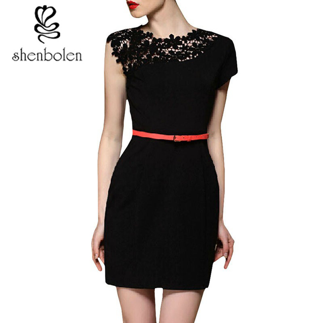 Shenbolen 2017 New Latest One Piece Frock Design Patterns Black Peplum Lace Dress For Women