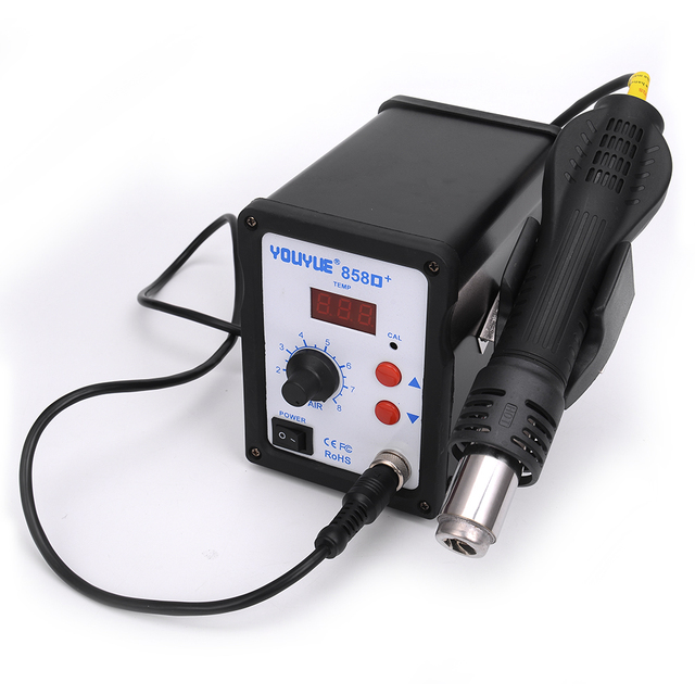 6 Air nozzles Heating core With Solder pastHot Air Gun 700W YOUYUE 858D+ ESD Soldering Station Digital Desoldering Station