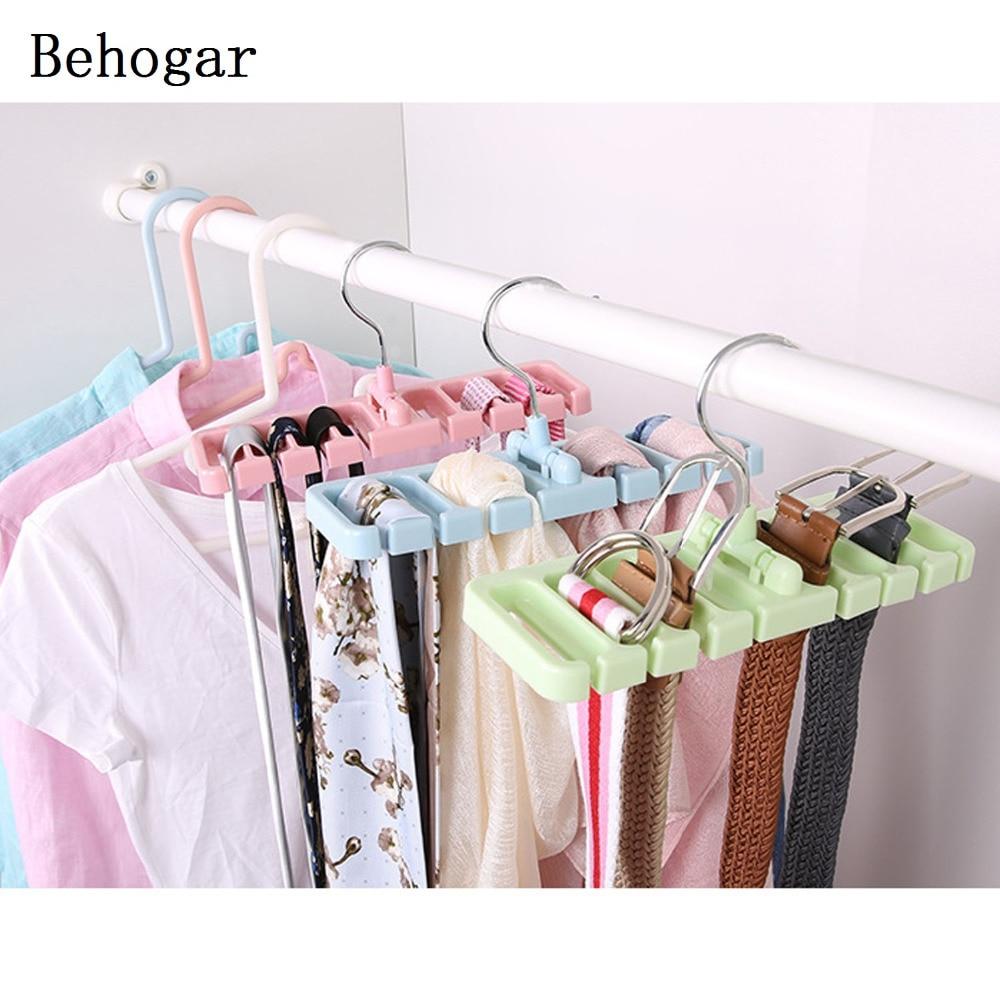 Behogar ABS Belt Tie Hanger Holder Storage Rack Silk Scarf Bra Organizer w/ 360 Degree Swivel Hook Closet Wardrobe Space Saving
