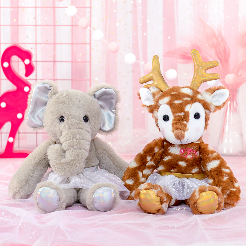 Lazada Plush Toys Stuffed Animal Plush Deer Elephant with White Dress Super Soft Toys