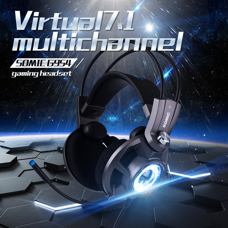 Somic G954 USB 7.1 Gaming Headset Headphones with Microphone Noise Cancelling Stereo Bass Vibration LED Light for PC PS4 Gamer authentic somic e95x 5 2 multi channel vibration headset super bass noise canceling headphone with led mic for ps4 fps game