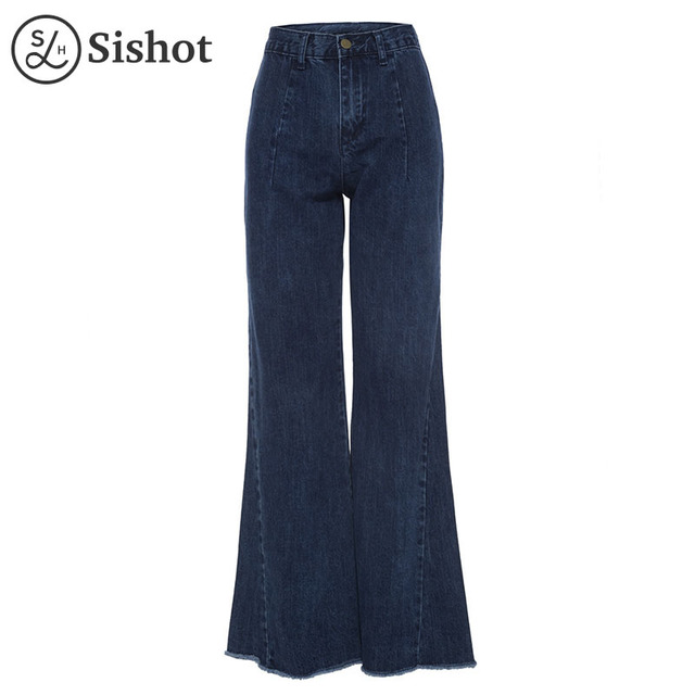 d9cb75746c Sishot women casual jeans 2017 autumn winter dark blue high waist flare  pants denim loose fashion full length bellbottoms jeans