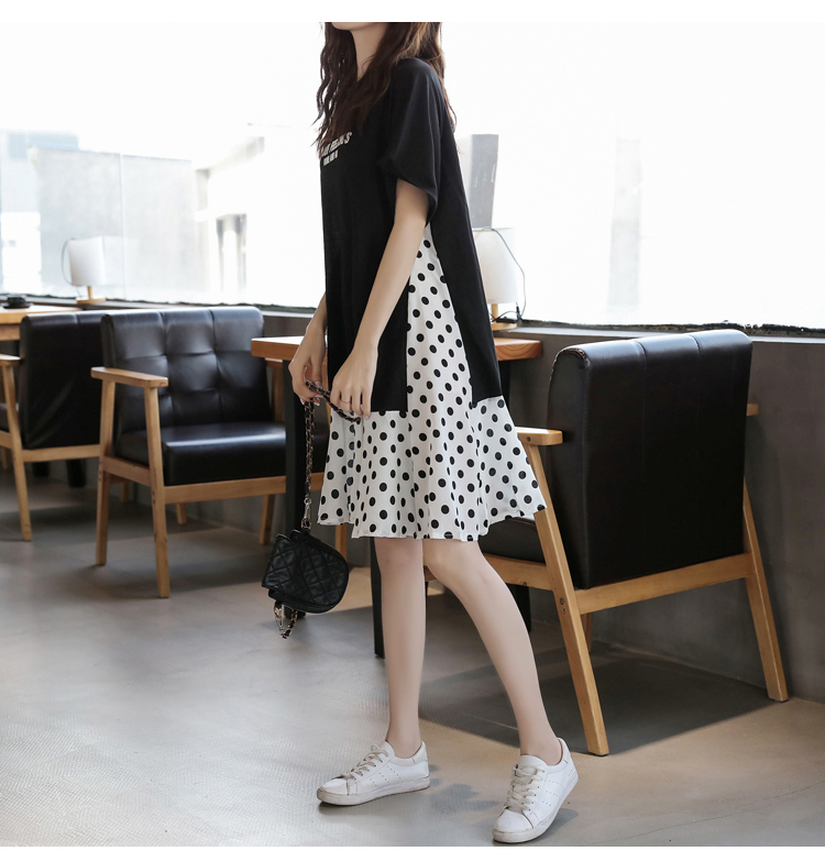 XL-5XL Plus Size Women Casual Dress Summer 2019 Short Sleeve Cotton Patchwork Chiffon Loose Casual Polka Dot Dresses 7