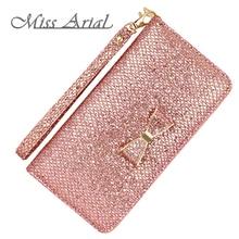 Glitter Wallet Women Purse Bow Zipper Long Pink Woman Coin Sequins  Wristlet Female Fashion Handbag Phone Case
