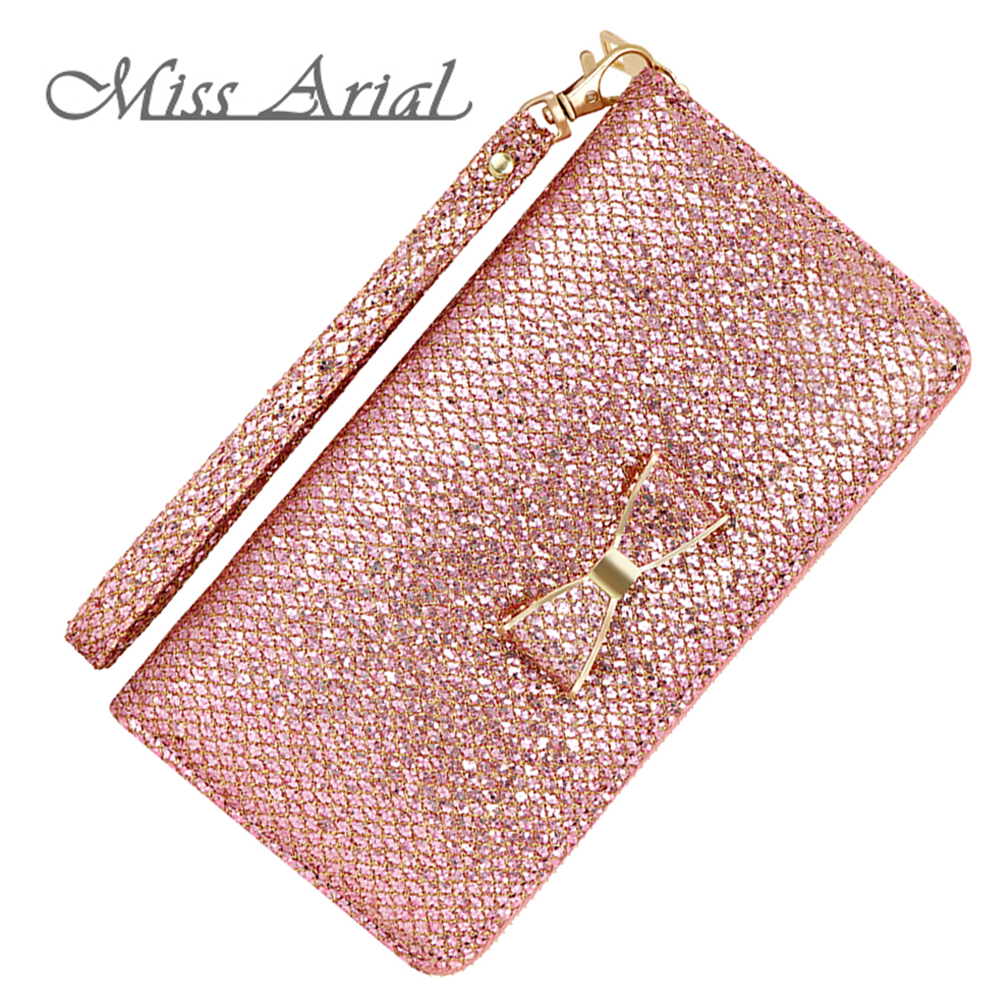 Glitter Women Wallets Bling Long Zipper Purses Female Card Wallet For Credit Cards With Sequins Pink Woman Coin Purse Wristlet