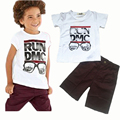 2017 New Children's 2pce Sets Letter Printing T-shirts+Shorts Baby Boys Casual Great Quality Cheap Clothing Set Free Shipping